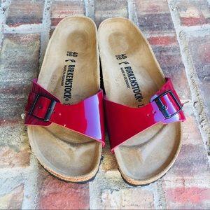 Birkenstock Red Patent Leather Milan Sandal
